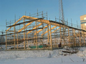 Limträstomme förrådsbyggnad